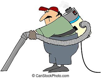 Industrial Vacuum Cleaner - This illustration depicts a man ...