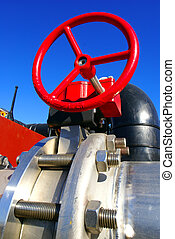 industrial valve against blue sky