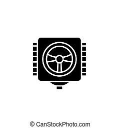 Industrial valve black icon concept. Industrial valve flat  vector symbol, sign, illustration.