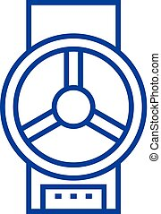 Industrial valve  line icon concept. Industrial valve  flat  vector symbol, sign, outline illustration.