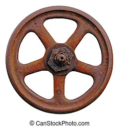 Industrial Valve Wheel And Rusty Stem, Old Aged Weathered ...