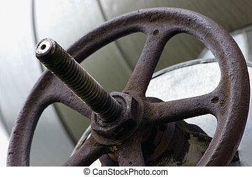 Industrial Valve Wheel And Stem Weathered Grunge Closeup - ...
