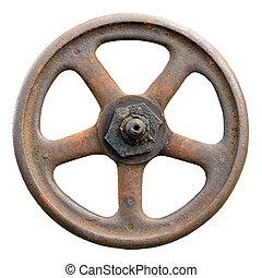 Industrial Valve Wheel And Stem, Weathered Grunge Latch ...