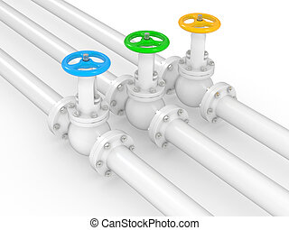 industrial valves on pipelines, 3D illustration on a white ...