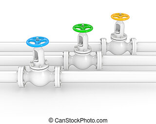 industrial valves on pipelines