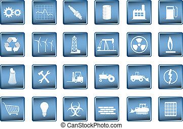 industrial, vario, iconos