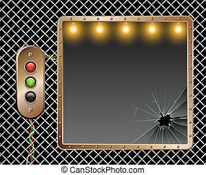 Industrial vector background. Metal frame. Brass buttons with illumination. Broken glass. Illumination by lamps.