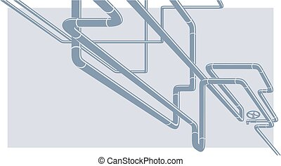 Industrial Vector Background with pipeline construction -...