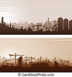 industrial, vector, bandera, plano de fondo