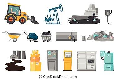 Industrial vector cartoon illustrations set. - Industrial...
