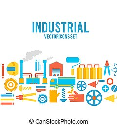 Industrial Vector Colored Decorative Icons Set