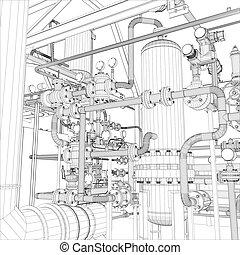industrial, vetorial, equipment., wire-frame