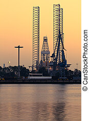 Industrial view - Drilling rig by evening light