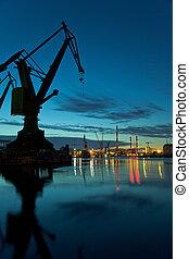 Industrial, vista, noturna