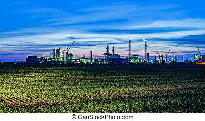 industrial, vista, paisaje, noche