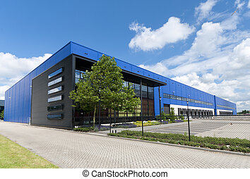 industrial warehouse - modern blue warehouse in the ...