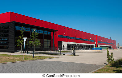 industrial warehouse - modern red warehouse with office part...