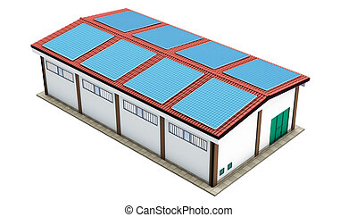 Industrial warehouse solar panels - 3d rendering...