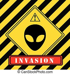Invasion of aliens - Industrial warning symbol. Invasion of...