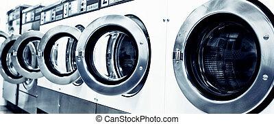 washing machines - industrial washing machines in a public ...