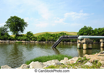 Industrial Waste Water Outfall and Collection Pond