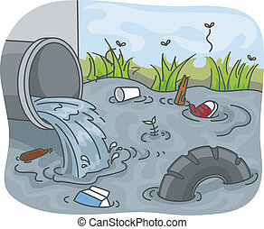 Industrial Waste Water Pollution - Illustration of...