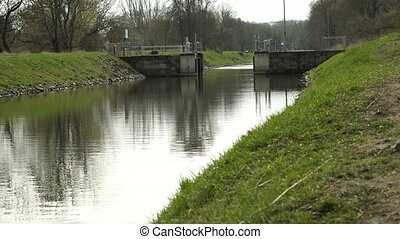 Industrial Water Canal Lock for Boat Transportation - Static...