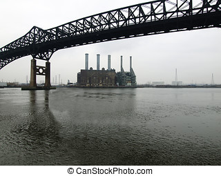 Industrial Waterfront - New Jersey highway bridge and...