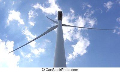 Industrial wind engine supplying bioenergia rear view. Close up