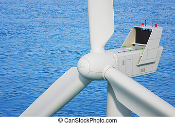 Industrial wind turbine close up in sea