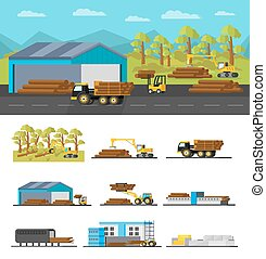 Industrial Wood Production Concept