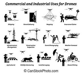 industrial, work., uso, comercial, zangão, aplicações