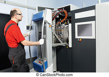 industrial worker and coating equipment