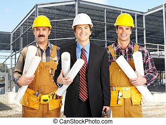 Industrial worker group.