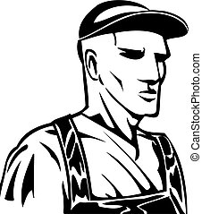 Industrial Worker in basic black and white.