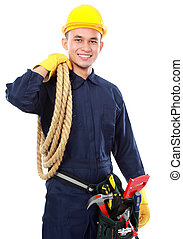 industrial worker - portrait of worker use blue uniform and...