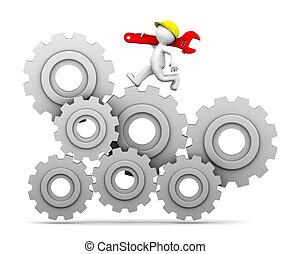 Industrial worker running up a gear mechanism