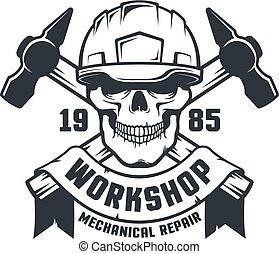 Industrial worker skull in hard hat retro logo