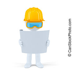 Industrial worker with the construction plan