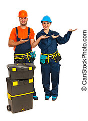 Industrial workers making presentation