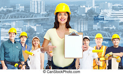 industrial, workers., mulher, grupo, contratante