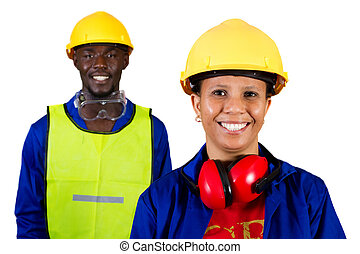 industrial workers - two african american industrial worker...
