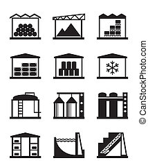 industrial, y, comercial, almacén
