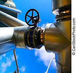 industrial, zona, aço, oleodutos, e, válvulas, contra, céu...