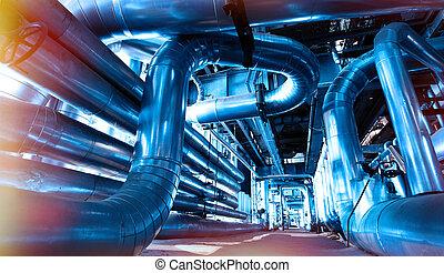industrial, zona, aço, oleodutos, e, válvulas, em, tons azuis