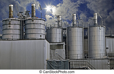 industrial, zona, aço, oleodutos, em, tons azuis