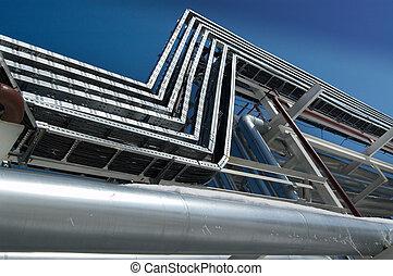 industrial, zona, aço, pipe-lines