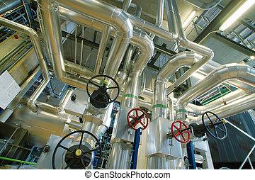 industrial, zona, acero, tuberías, válvulas, y, bombas