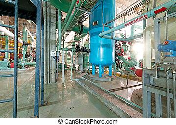 industrial, zona, acero, tuberías, y, cables, en, tonos azules