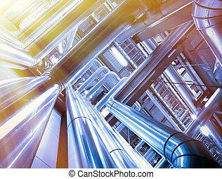 industrial, zona, acero, tuberías, y, cables